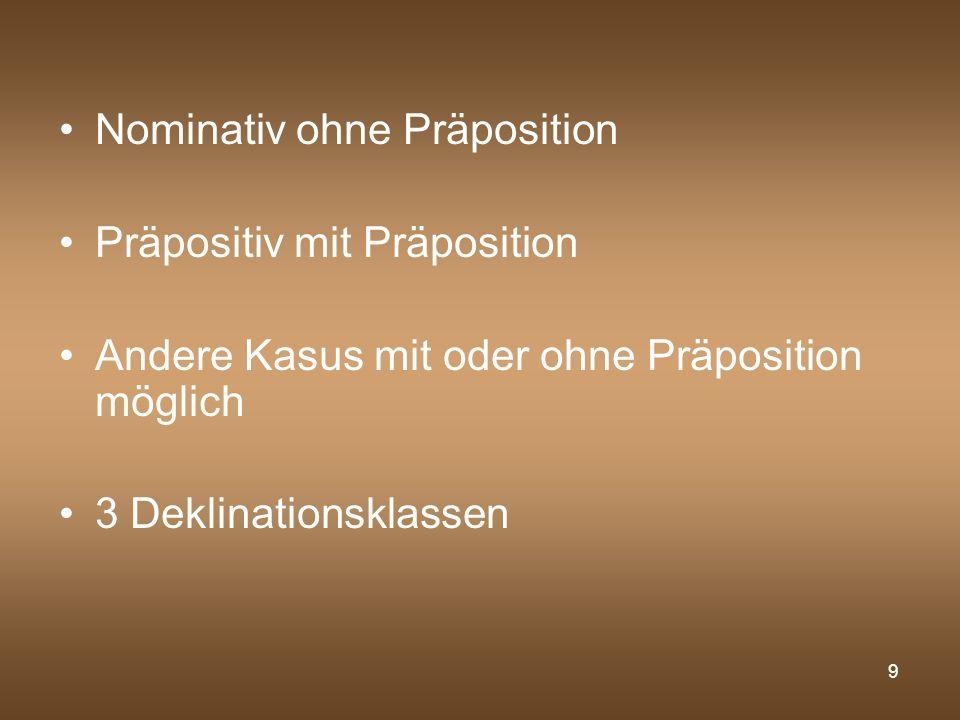 Nominativ ohne Präposition