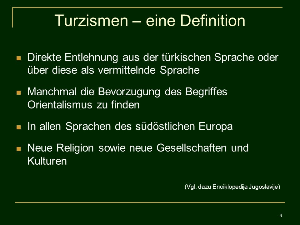 Turzismen – eine Definition