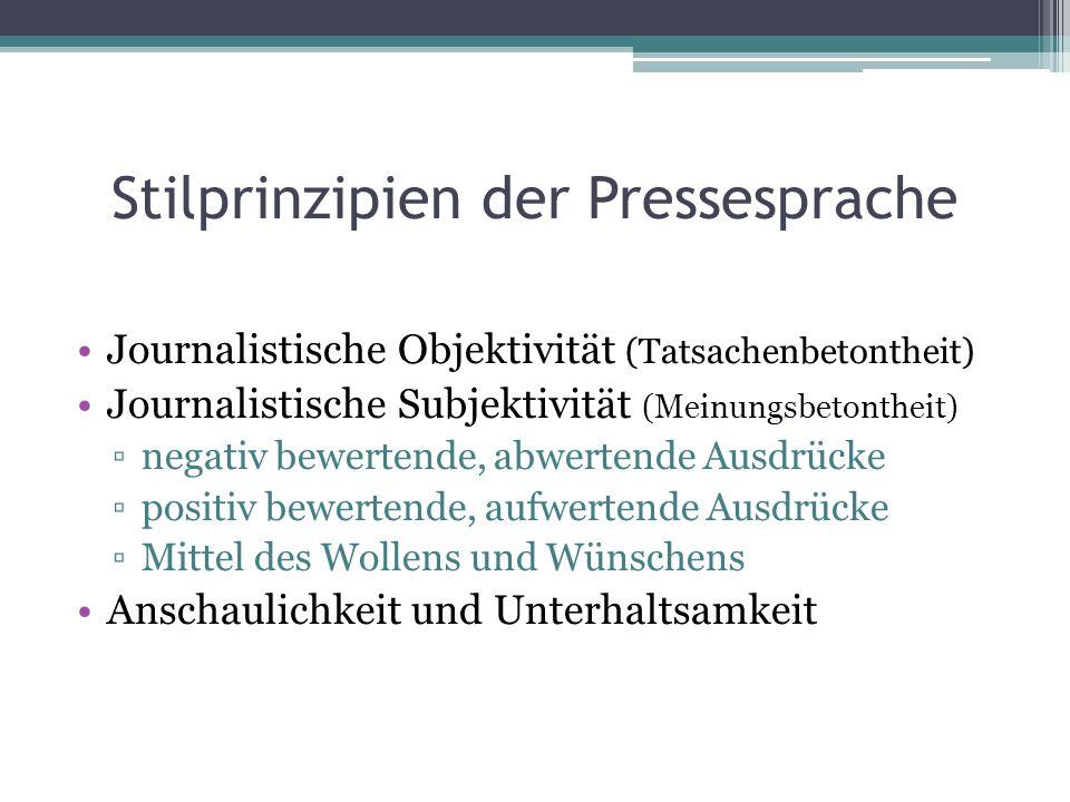 Stilprinzipien der Pressesprache