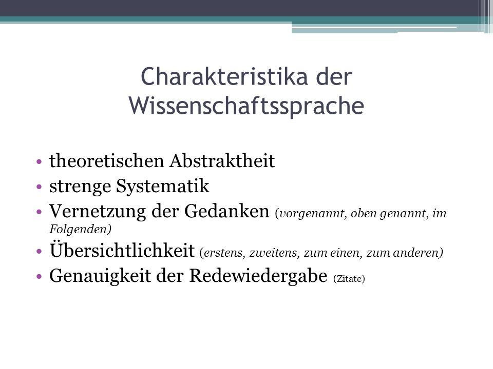 Charakteristika der Wissenschaftssprache