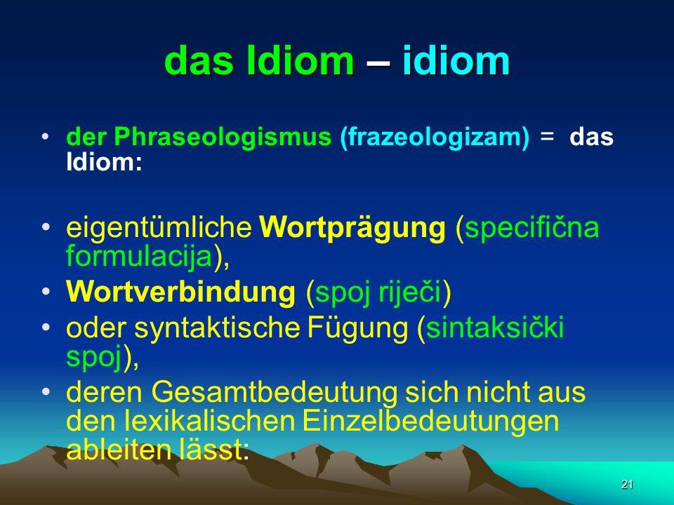 das Idiom – idiom eigentümliche Wortprägung (specifična formulacija),