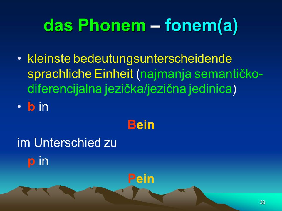 das Phonem – fonem(a)kleinste bedeutungsunterscheidende sprachliche Einheit (najmanja semantičko-diferencijalna jezička/jezična jedinica)