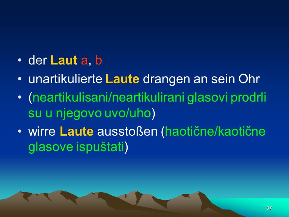 der Laut a, b unartikulierte Laute drangen an sein Ohr. (neartikulisani/neartikulirani glasovi prodrli su u njegovo uvo/uho)
