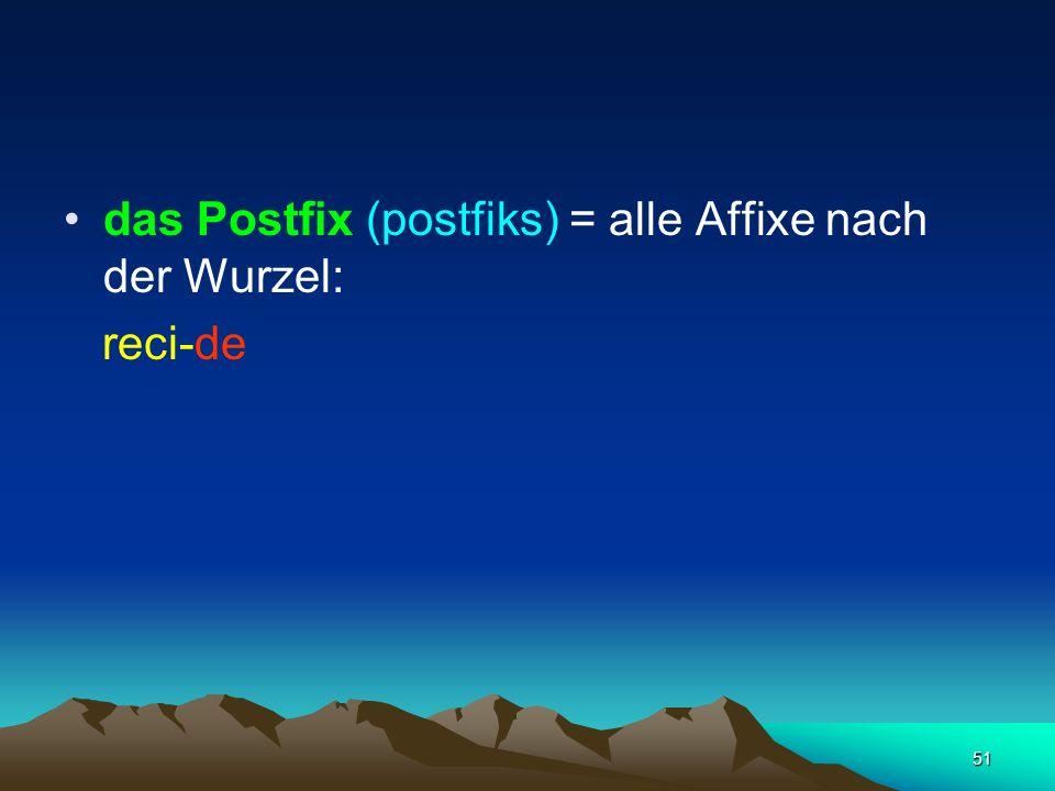 das Postfix (postfiks) = alle Affixe nach der Wurzel: