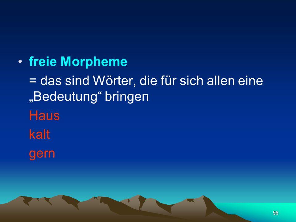 """freie Morpheme = das sind Wörter, die für sich allen eine """"Bedeutung bringen Haus kalt gern"""