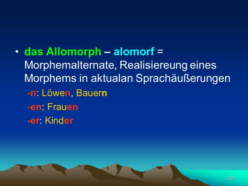 das Allomorph – alomorf = Morphemalternate, Realisiereung eines Morphems in aktualan Sprachäußerungen
