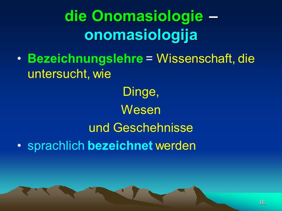 die Onomasiologie – onomasiologija