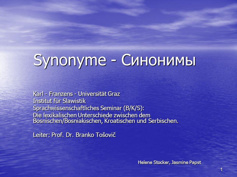 Synonyme - Синонимы Karl - Franzens - Universität Graz