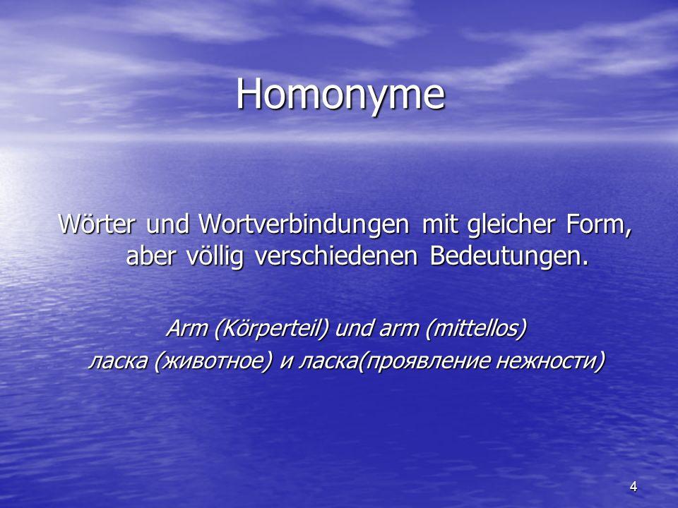 Homonyme Wörter und Wortverbindungen mit gleicher Form, aber völlig verschiedenen Bedeutungen. Arm (Körperteil) und arm (mittellos)