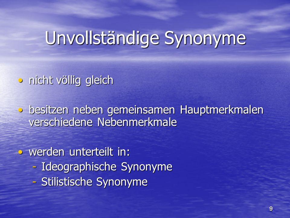 Unvollständige Synonyme