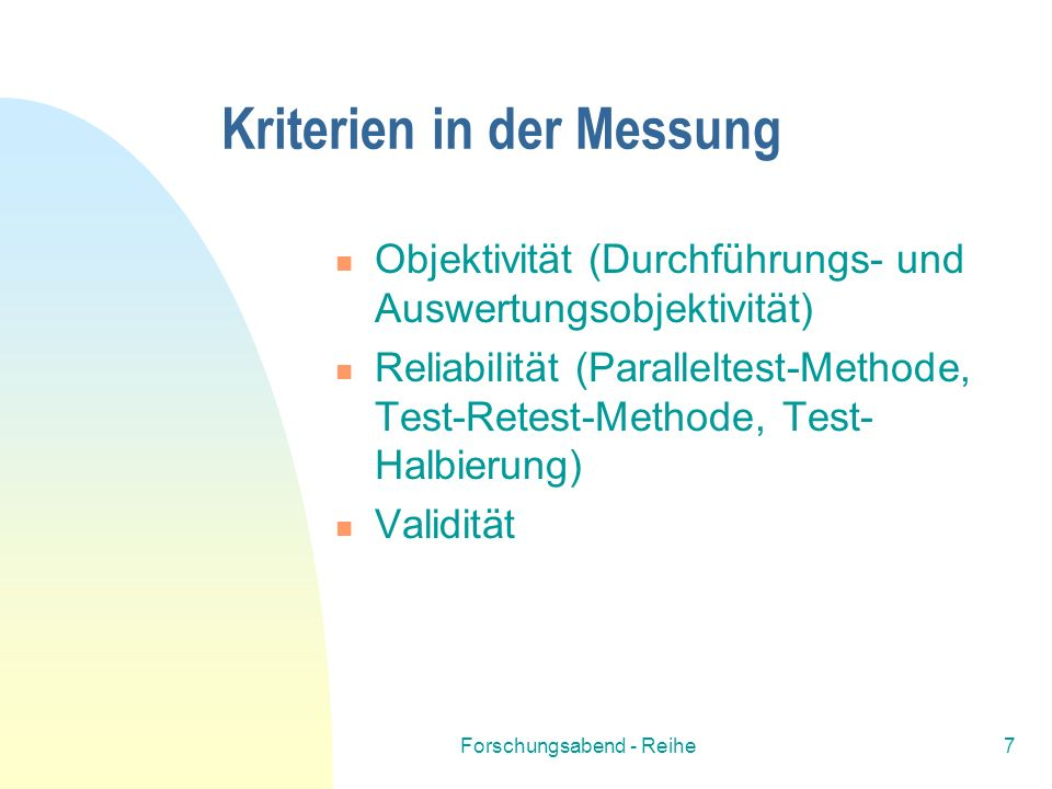 Kriterien in der Messung