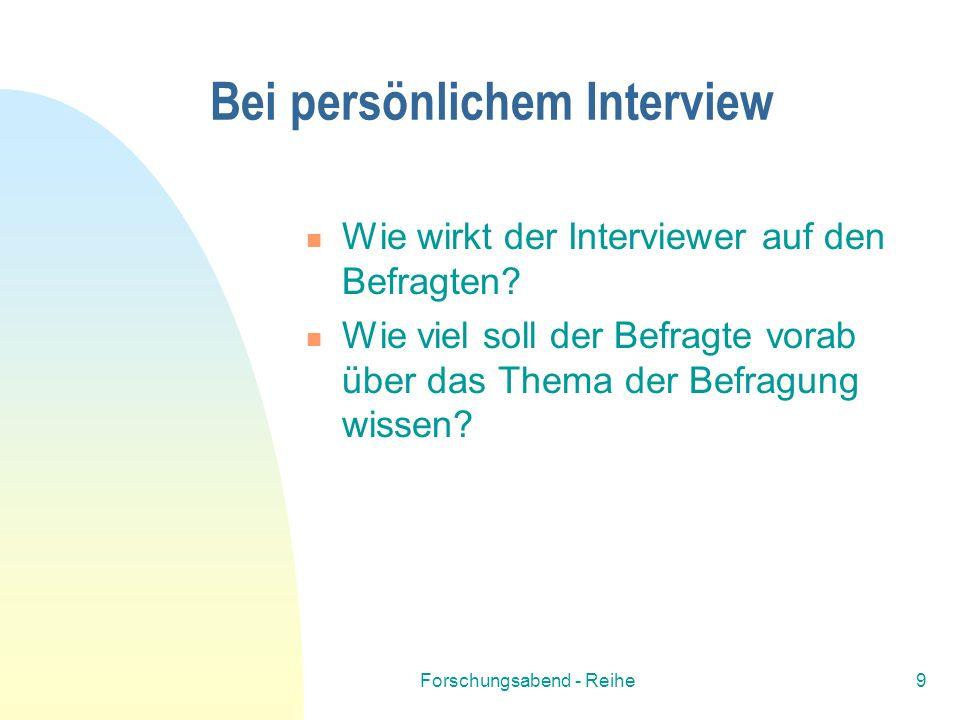 Bei persönlichem Interview