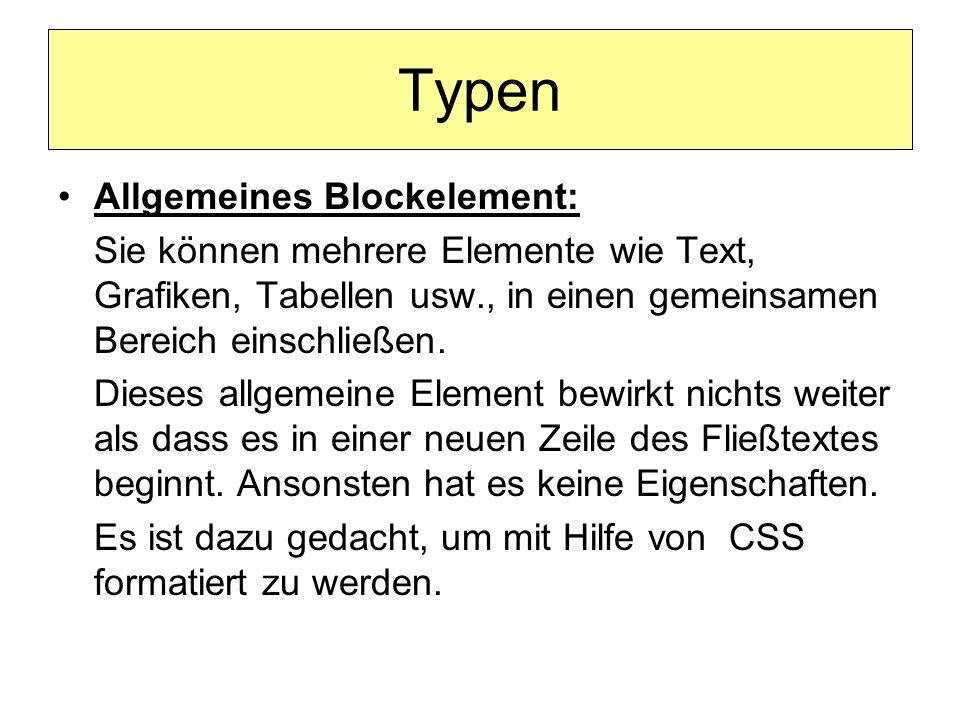Typen Allgemeines Blockelement: