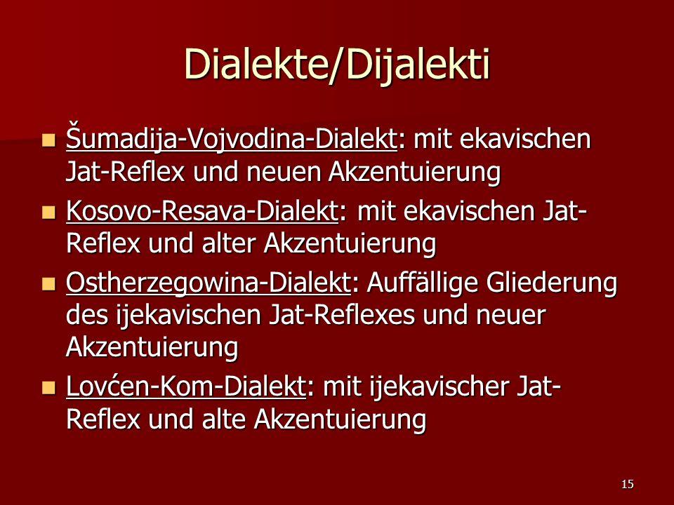 Dialekte/Dijalekti Šumadija-Vojvodina-Dialekt: mit ekavischen Jat-Reflex und neuen Akzentuierung.