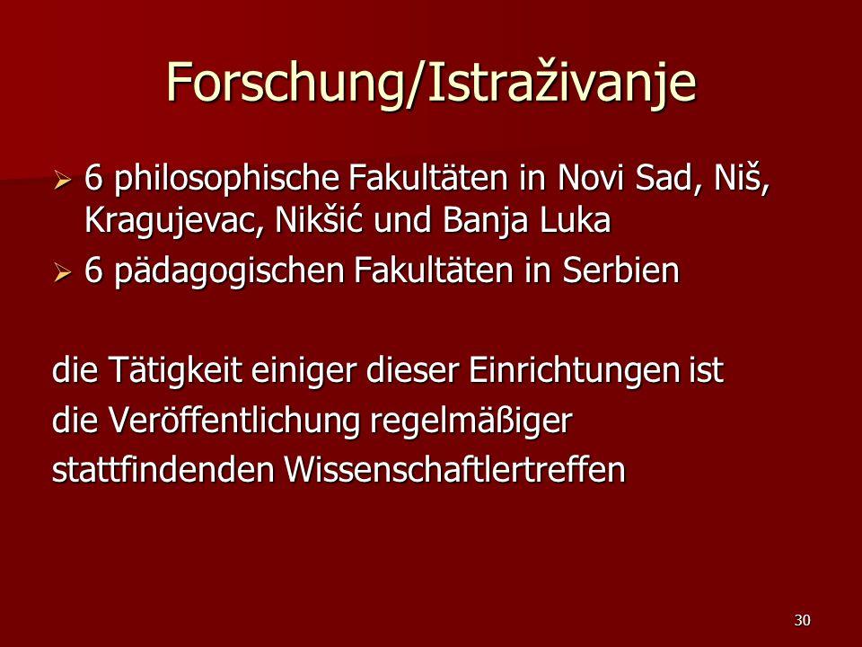 Forschung/Istraživanje