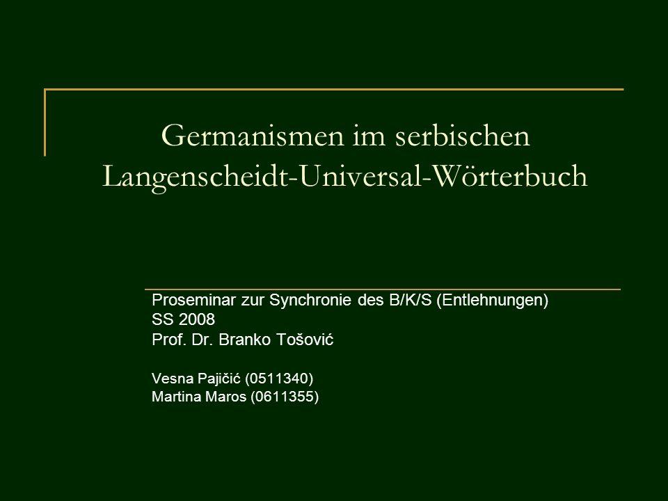 Germanismen im serbischen Langenscheidt-Universal-Wörterbuch