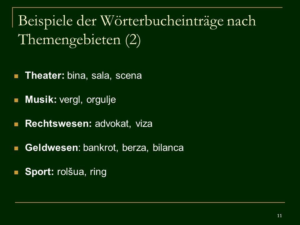 Beispiele der Wörterbucheinträge nach Themengebieten (2)