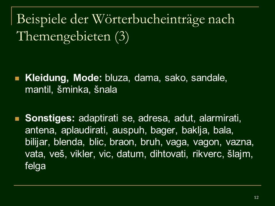Beispiele der Wörterbucheinträge nach Themengebieten (3)