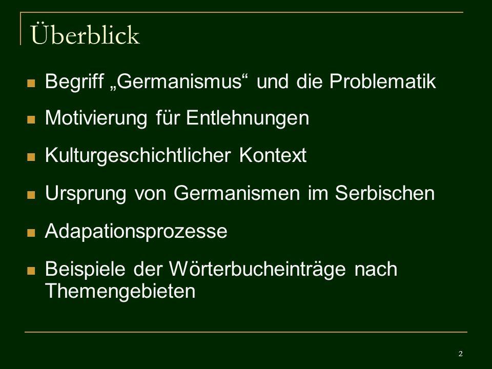 """Überblick Begriff """"Germanismus und die Problematik"""