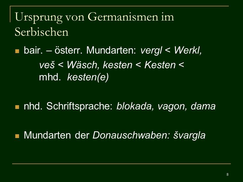 Ursprung von Germanismen im Serbischen