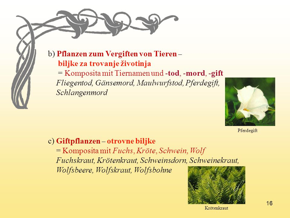b) Pflanzen zum Vergiften von Tieren – biljke za trovanje životinja