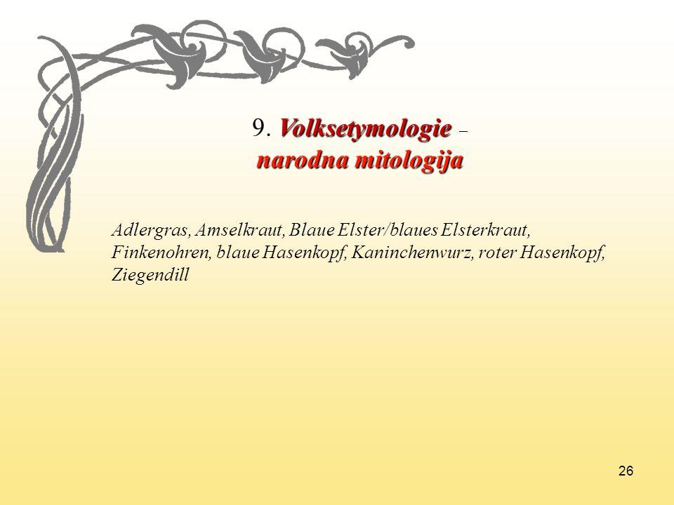 9. Volksetymologie – narodna mitologija