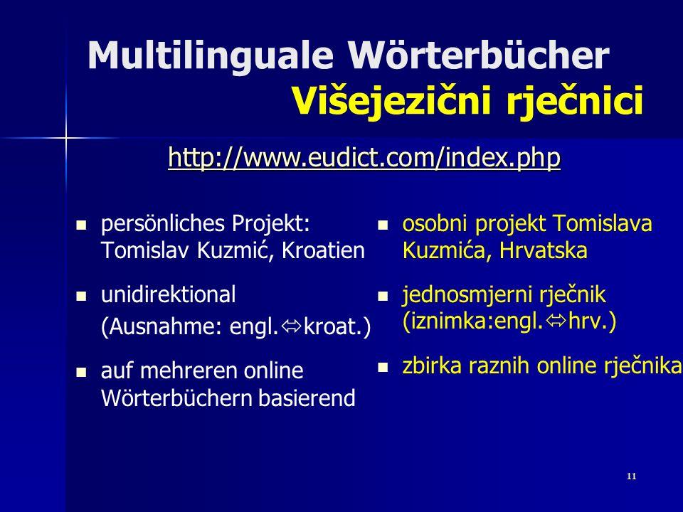 Multilinguale Wörterbücher Višejezični rječnici