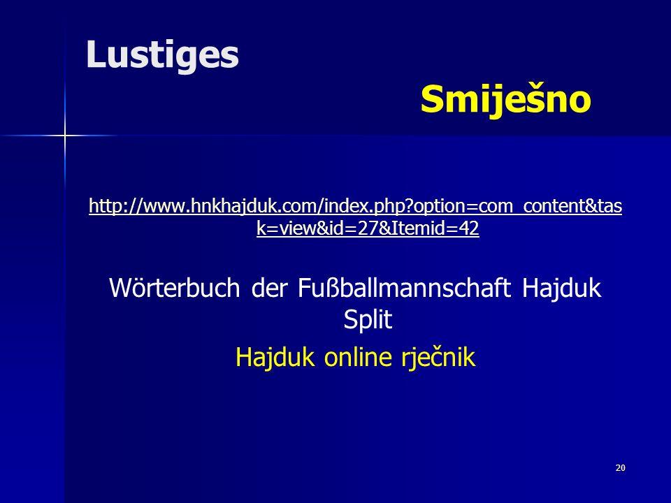 Wörterbuch der Fußballmannschaft Hajduk Split