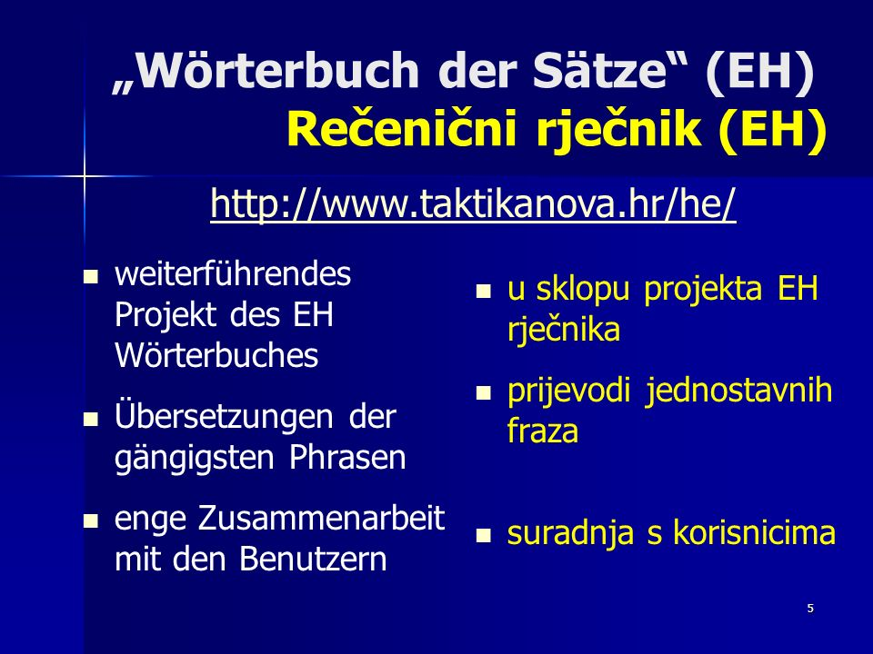 """Wörterbuch der Sätze (EH) Rečenični rječnik (EH)"