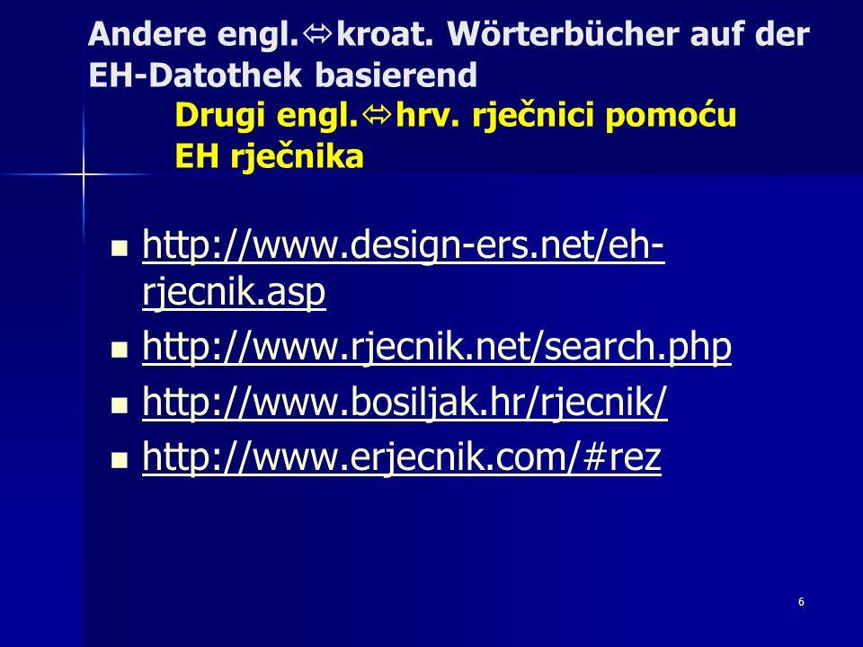 Andere engl. kroat. Wörterbücher auf der EH-Datothek basierend