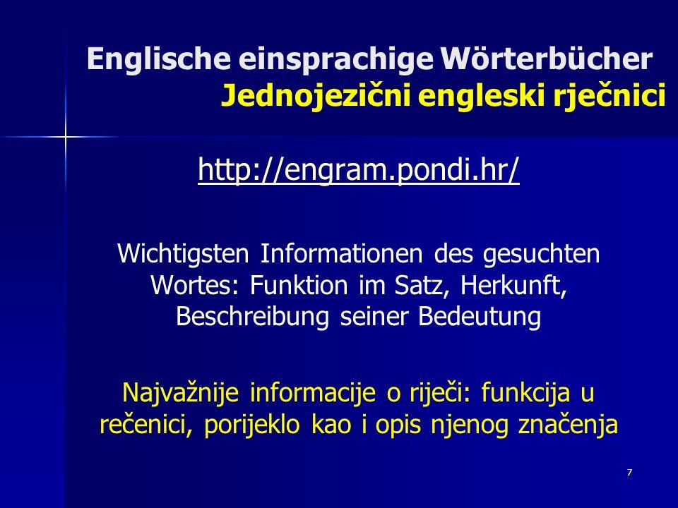 Englische einsprachige Wörterbücher Jednojezični engleski rječnici