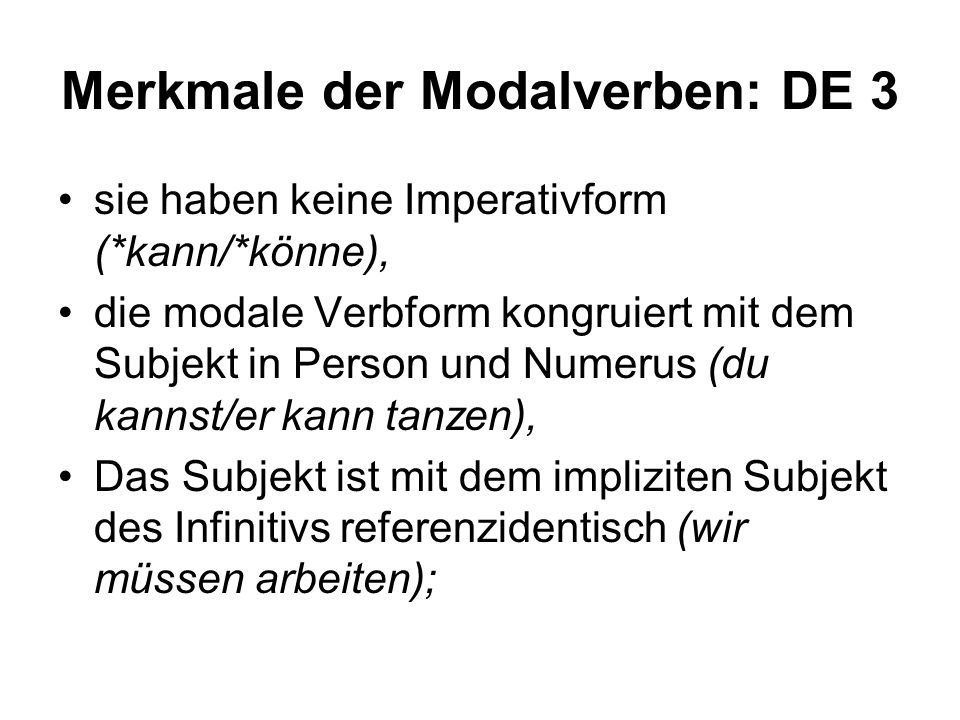 Merkmale der Modalverben: DE 3