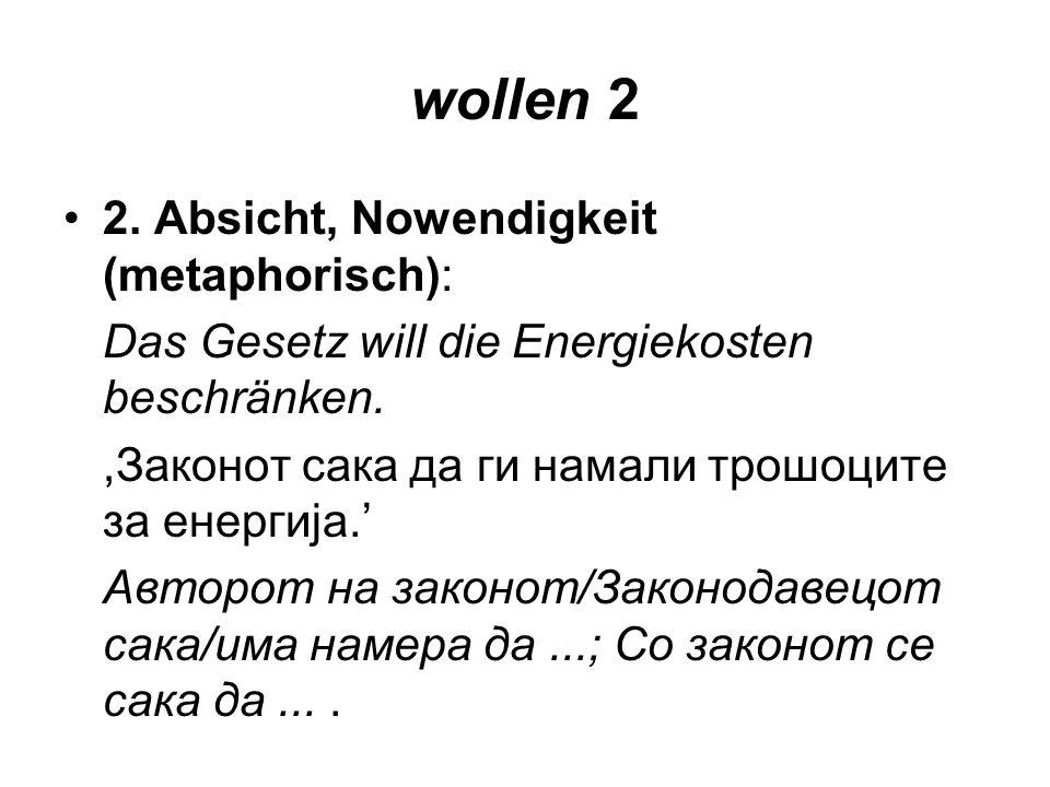 wollen 2 2. Absicht, Nowendigkeit (metaphorisch):