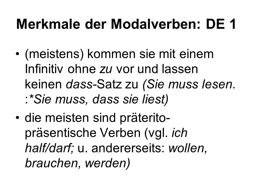 Merkmale der Modalverben: DE 1