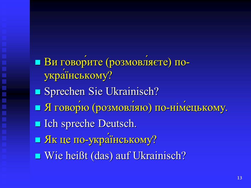 Ви говор́ите (розмовл́яєте) по-укра́їнському