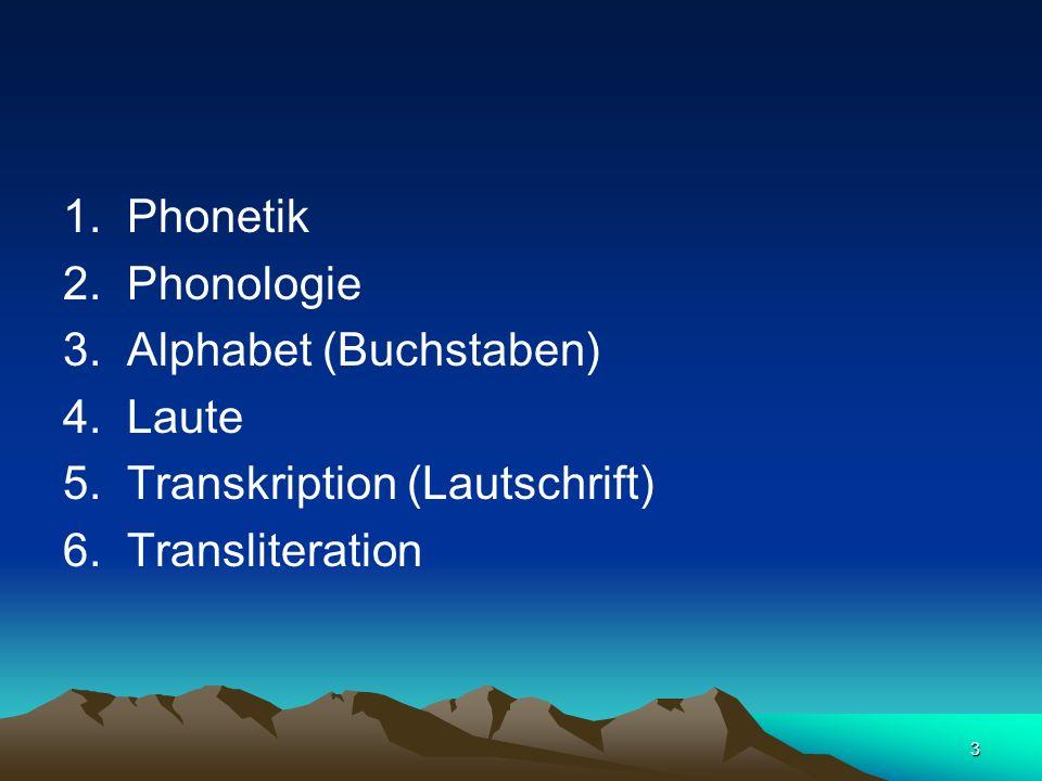 1. Phonetik 2. Phonologie. 3. Alphabet (Buchstaben) 4. Laute. 5. Transkription (Lautschrift)