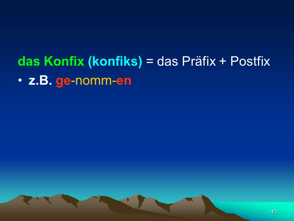 das Konfix (konfiks) = das Präfix + Postfix