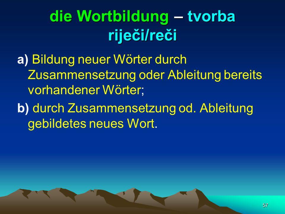 die Wortbildung – tvorba riječi/reči