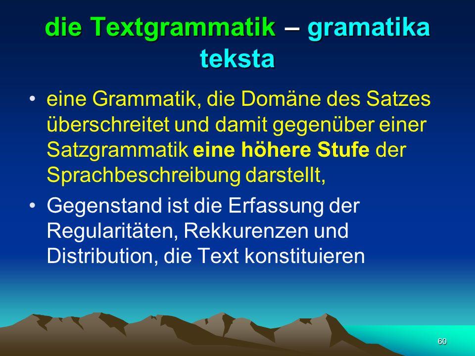 die Textgrammatik – gramatika teksta