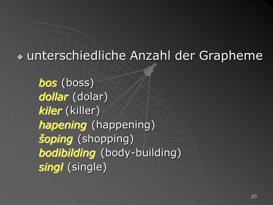 unterschiedliche Anzahl der Grapheme