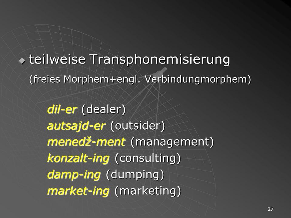 teilweise Transphonemisierung (freies Morphem+engl. Verbindungmorphem)