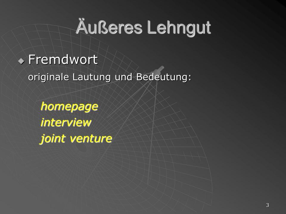 Äußeres Lehngut Fremdwort originale Lautung und Bedeutung: interview
