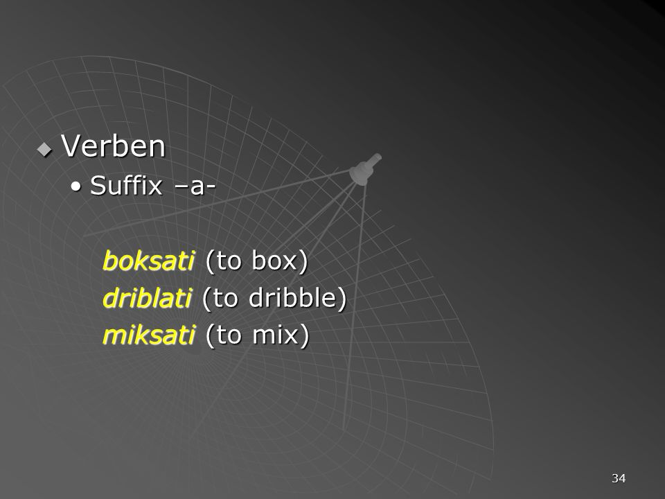 Verben Suffix –a- boksati (to box) driblati (to dribble)