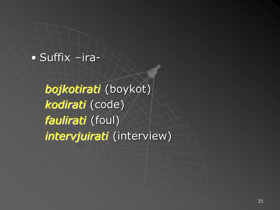 Suffix –ira- bojkotirati (boykot) kodirati (code) faulirati (foul) intervjuirati (interview)
