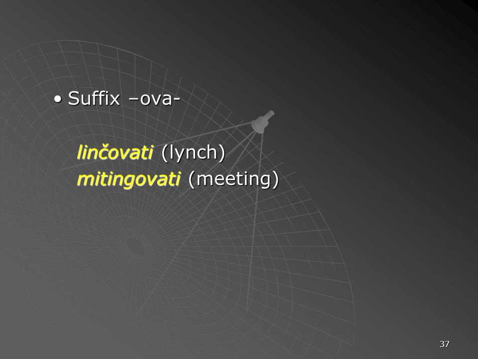Suffix –ova- linčovati (lynch) mitingovati (meeting)
