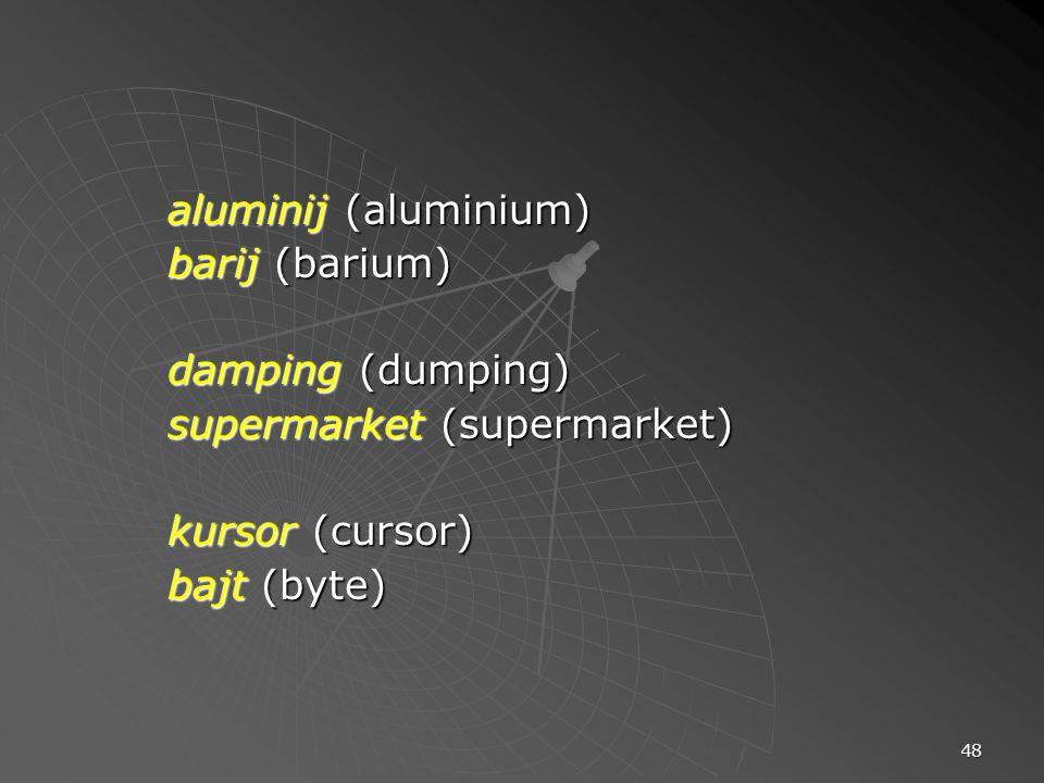 aluminij (aluminium) barij (barium) damping (dumping) supermarket (supermarket) kursor (cursor) bajt (byte)