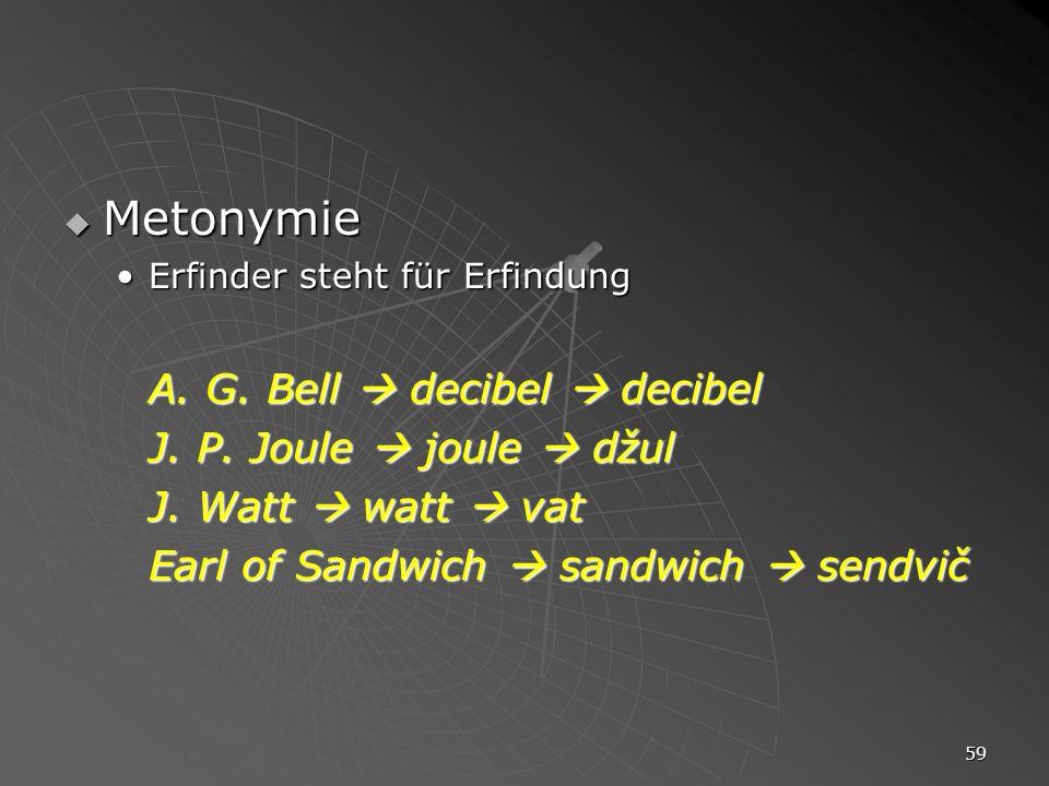 Metonymie A. G. Bell  decibel  decibel J. P. Joule  joule  džul