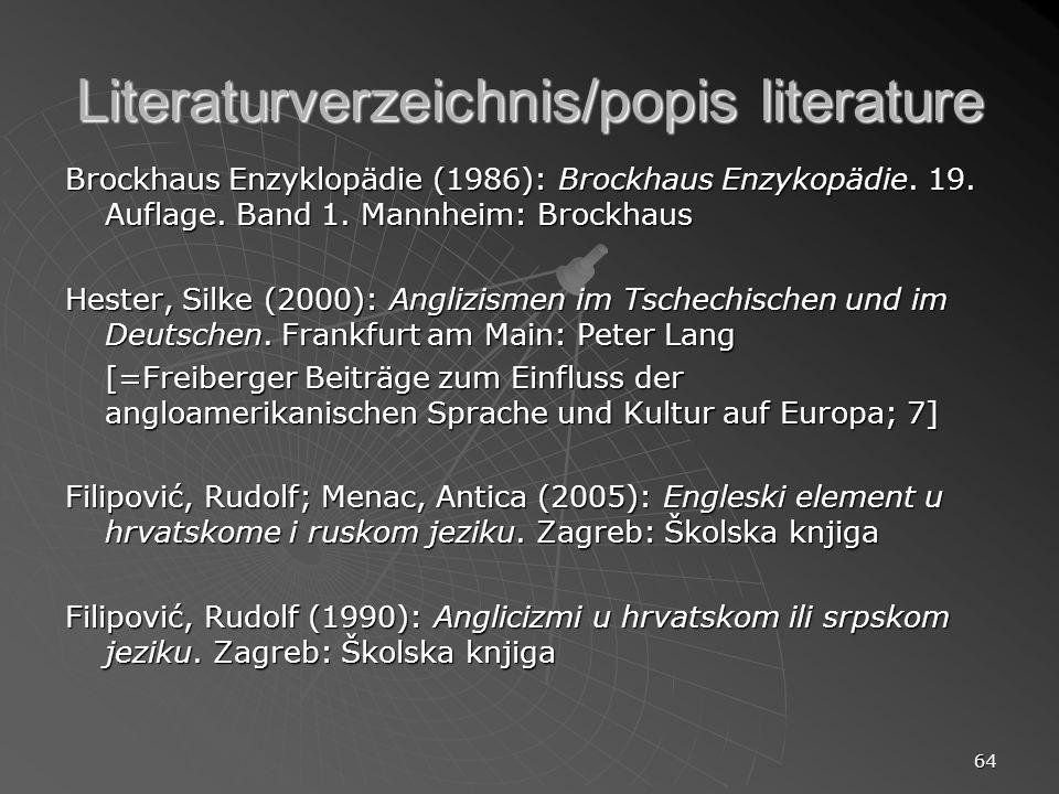 Literaturverzeichnis/popis literature