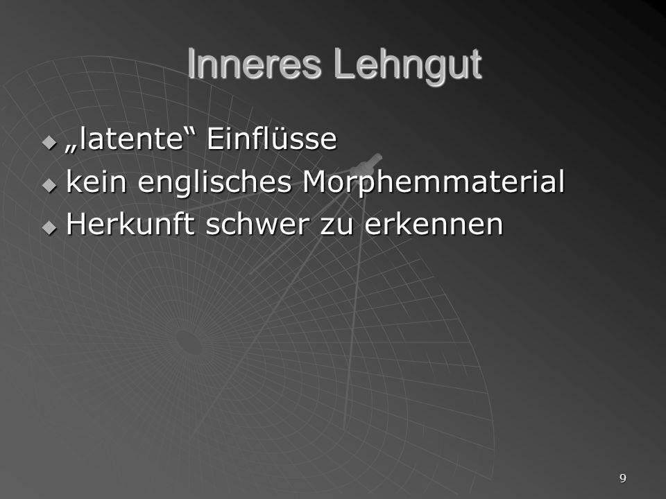 """Inneres Lehngut """"latente Einflüsse kein englisches Morphemmaterial"""