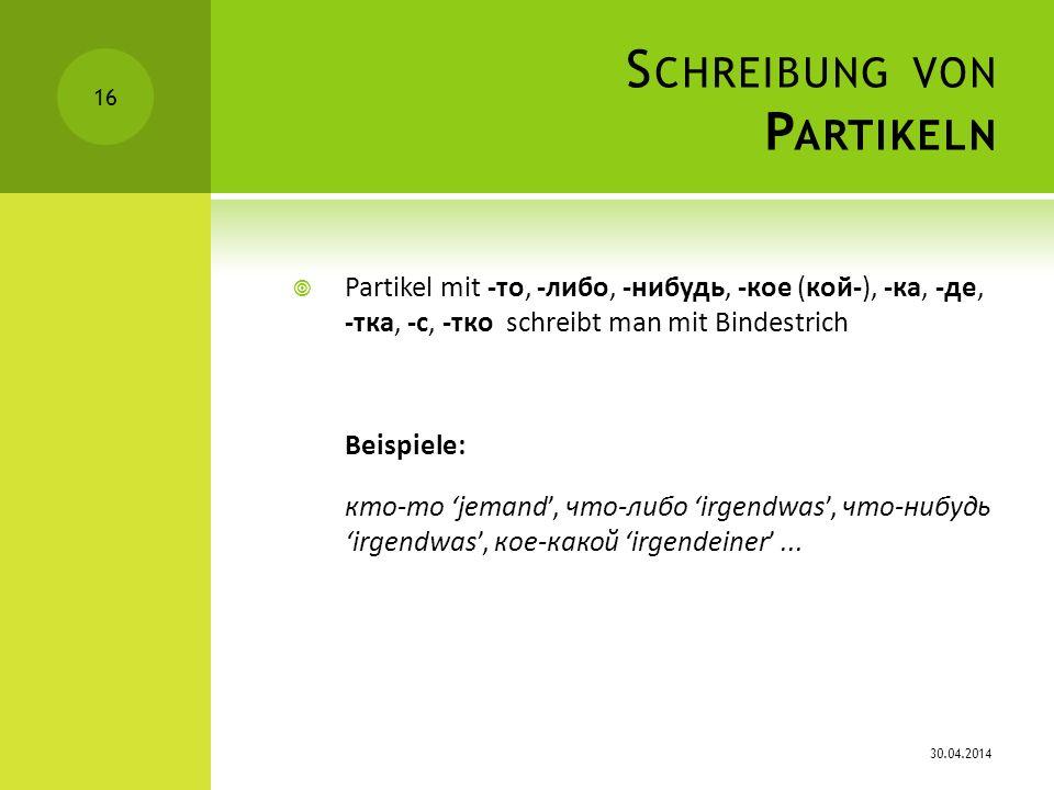 Schreibung von Partikeln